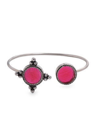 Pink Enameled Glass Silver Cuff