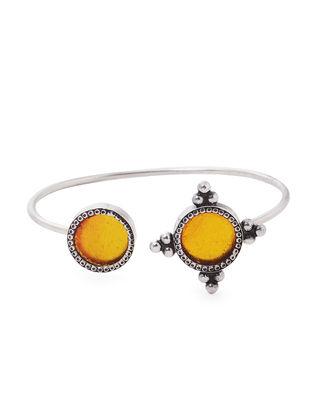 Yellow Enameled Glass Silver Cuff
