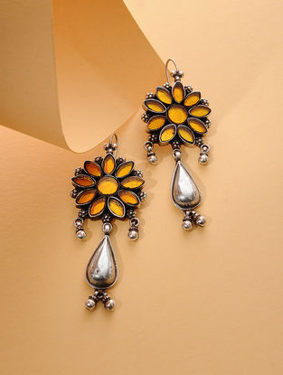 Yellow Enameled Glass Silver Earrings with Floral Design