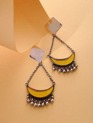 Yellow Enameled Glass Silver Earrings