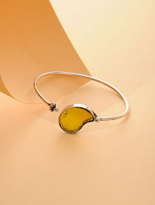 Yellow Enameled Glass Silver Cuff with Paisley Design