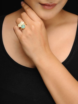 Green Chalcedony Gold Tone Brass Adjustable Ring