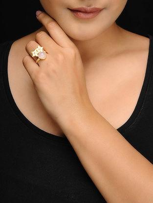 Pink Rose Quartz Gold Tone Brass Adjustable Ring