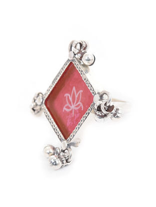 Pink Enameled Glass Adustable Silver Ring with Lotus Motif