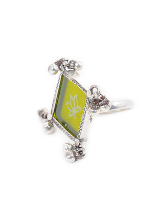 Green Enameled Glass Adustable Silver Ring with Lotus Motif