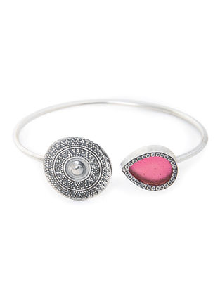 Red Enameled Glass Silver Cuff