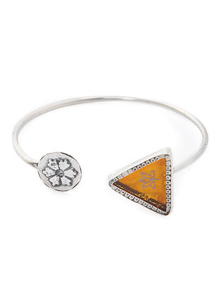 Yellow Enameled Glass Silver Cuff with Lotus Motif