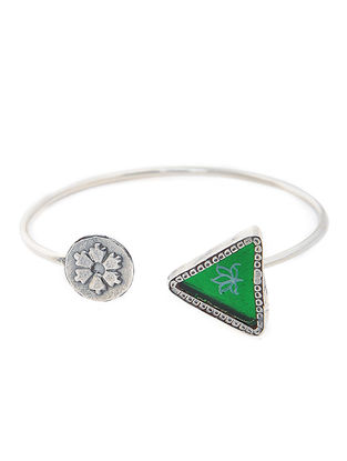 Green Enameled Glass Silver Cuff with Lotus Motif