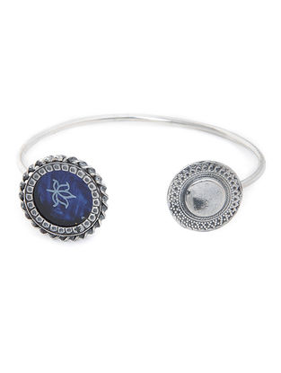 Blue Enameled Glass Silver Cuff with Lotus Motif