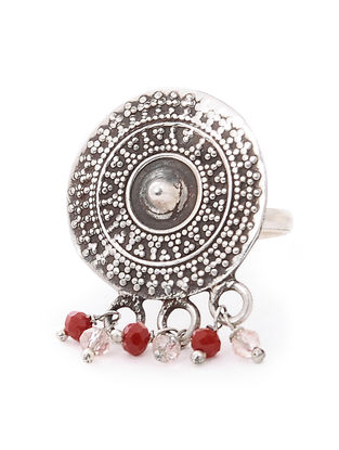Red Tribal Silver Ring (Ring Size-5)