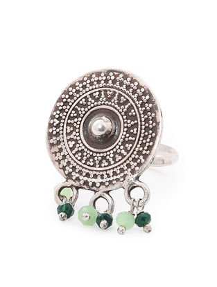 Green Tribal Silver Ring (Ring Size-6.5)