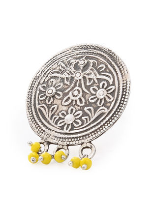 Yellow Tribal Silver Ring with Floral Motif (Ring Size-6)