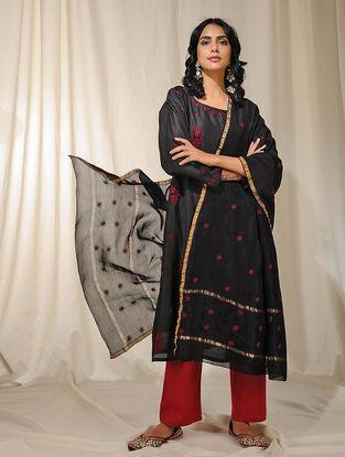 Black Chikankari Embroidered Chanderi Dupatta