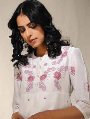 Ivory Chikankari Embroidered Chanderi Kurta with Slip