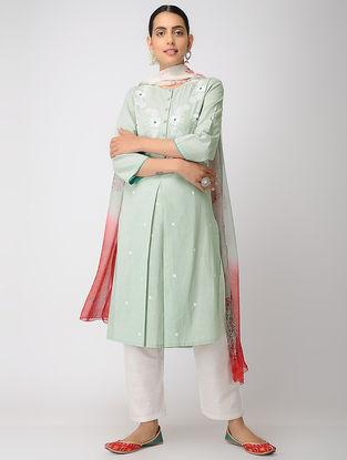 Green Chikankari Kalidar Cotton Slub Kurta