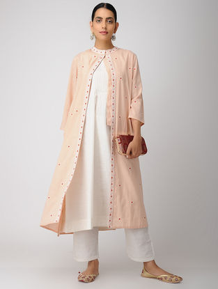 Peach Chikankari Cotton Slub Jacket