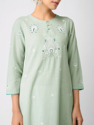 Green Chikankari Cotton Slub Kurta