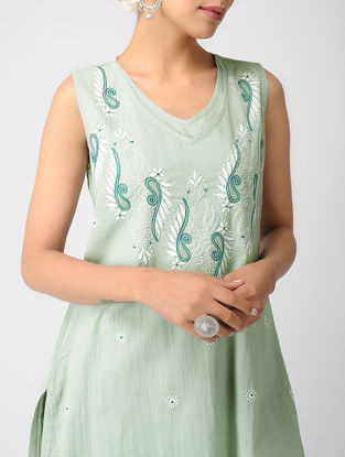 Green Chikankari Double Layer Cotton Slub Kurta