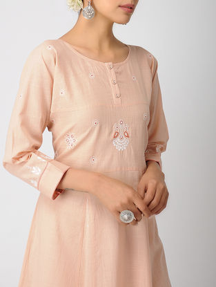 Peach Chikankari Cotton Slub Kurta