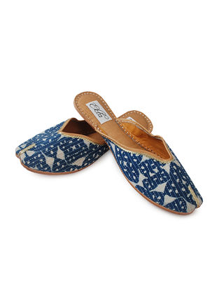 Indigo Handcrafted Bagru-Printed Cotton and Leather Mojaris