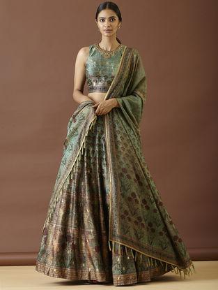 Green-Turquoise Handwoven Benarasi Silk Lehenga with Blouse and Dupatta (Set of 3)