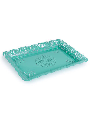 Aqua Arabesque Tray (13.3in x 9.2in)