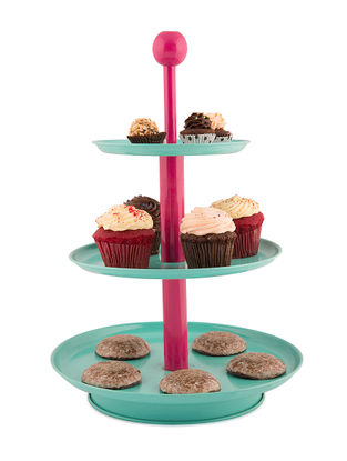 Aqua-Pink Three Tier Cake Stand (11.5in x 18in)