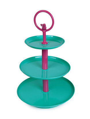 Aqua-Pink Three Tier Cake Stand with Bird Design (11.5in x 18in)