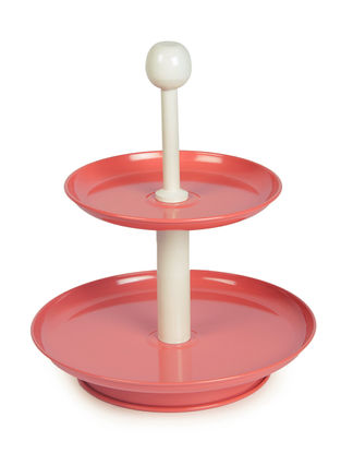 Peach-Ivory Two Tier Dessert Stand with Knob (9.6in x 12in)