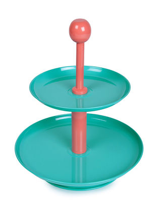 Aqua-Peach Two Tier Dessert Stand with Knob (9.6in x 12in)
