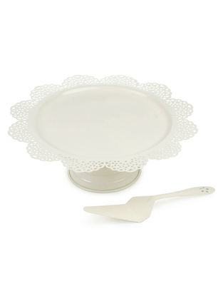 Ivory Scallop Cake Stand & Server (Set of 2) (13.3in x 4.75in)