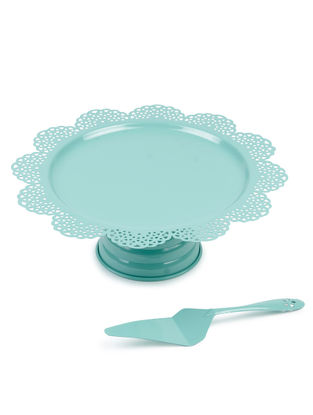 Aqua Scallop Cake Stand & Server (Set of 2) (13.3in x 4.75in)