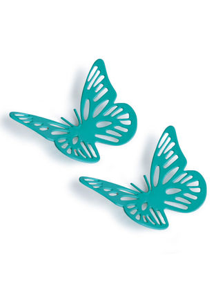 Aqua Small Butterfly Magnet (Set of 2) (1.5in x 2in)