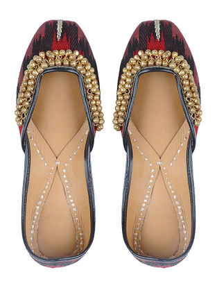 Maroon-Black Thread-embroidered Silk and Leather Juttis with Ghungroos