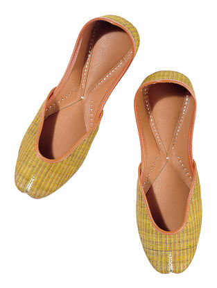 Mustard Green Silk Leather Juttis