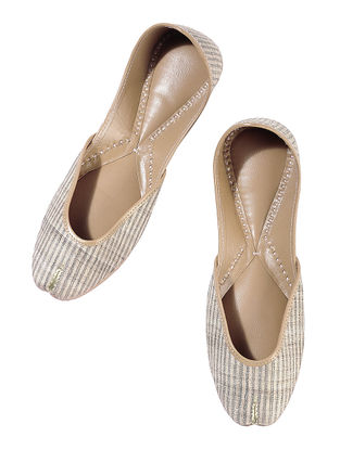 Beige Silk Leather Juttis