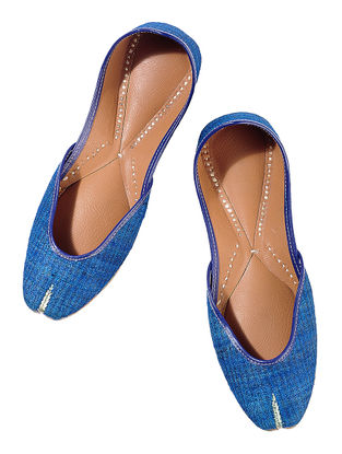 Blue Silk Leather Juttis