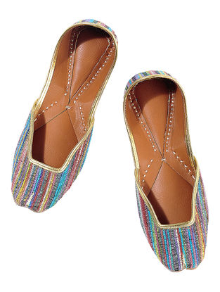 Multicolored Stripes Leather Juttis