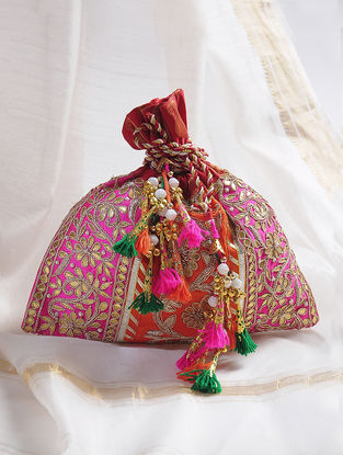 Orange-Pink Handcrafted Potli with Gota-Patti Work and Tassels