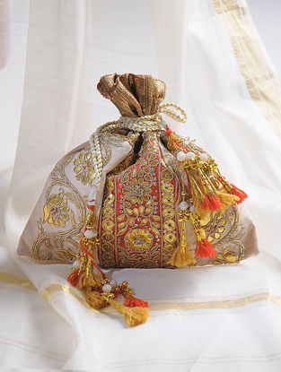 Cream-Red Handcrafted Potli with Gota-Patti Work and Tassels