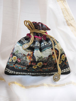 Black-Multicolored Handcrafted Potli with Embellishments