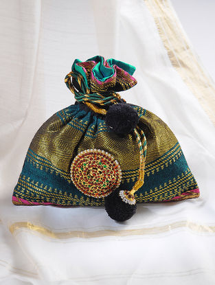 Green-Multicolored Handcrafted Potli with Embellished Brooch
