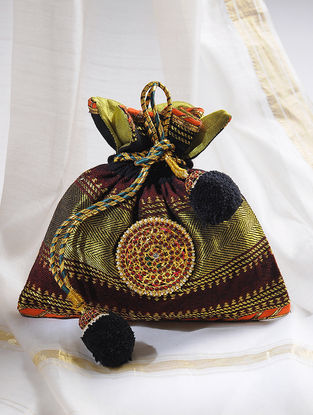Maroon-Multicolored Handcrafted Potli with Embellished Brooch