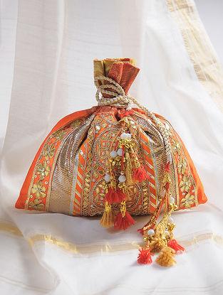 Orange-Golden Handcrafted Potli with Gota-Patti Work and Tassels