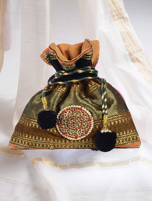 Brown-Multicolored Handcrafted Potli with Embellished Brooch