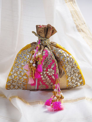 Yellow-Pink Handcrafted Potli with Gota-Patti Work and Tassels