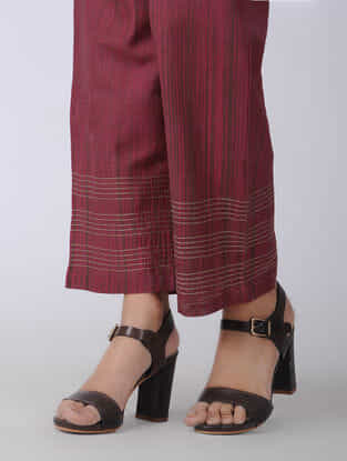 Pink Elasticated-waist Handloom Cotton Pants with Kantha Embroidery