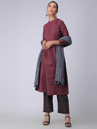 Maroon Handloom Cotton Kurta with Pleats