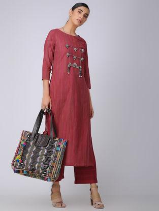 Pink Handloom Cotton Kurta with Tassels