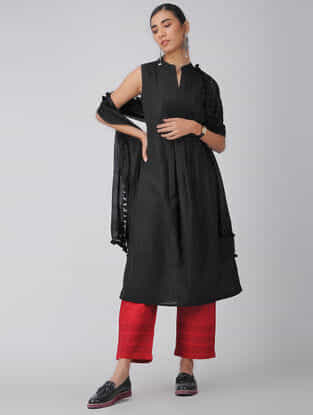 Black Handloom Cotton Kurta with Pleats